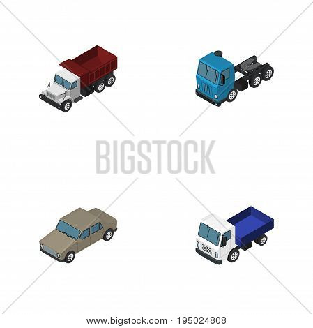 Isometric Car Set Of Freight, Auto, Lorry And Other Vector Objects. Also Includes Transport, Auto, Car Elements.