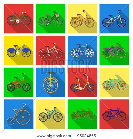 Different models of bicycles. Different bicycle set collection icons in flat style vector symbol stock illustration .