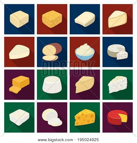Different types of cheese. Different types of cheese set collection icons in flat style vector symbol stock illustration.