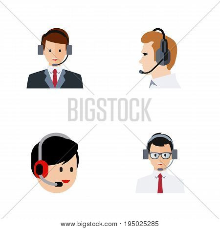 Flat Icon Call Set Of Telemarketing, Operator, Help And Other Vector Objects. Also Includes Online, Operator, Telemarketing Elements.