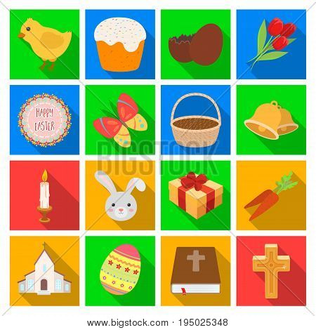 Easter cake, egg, chicken, rabbit, butterfly and other attributes. Easter set collection icons in flat style vector symbol stock illustration .