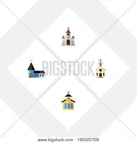 Flat Icon Christian Set Of Building, Catholic, Traditional And Other Vector Objects. Also Includes Traditional, Building, Church Elements.