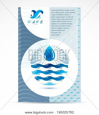 Water filtration theme booklet cover design front page for use in mineral water advertising. Sea wave splash vector idea.