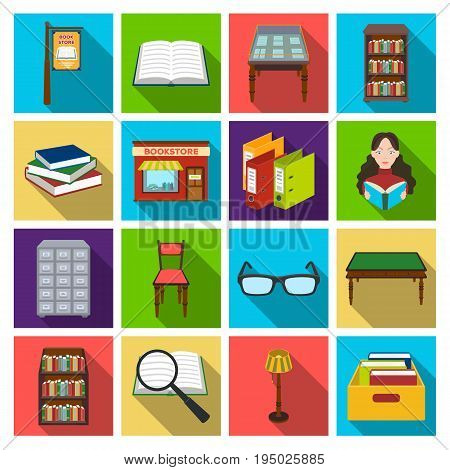 Library and bookstore set icons in flat design. Big collection of library and bookstore vector symbol stock illustration