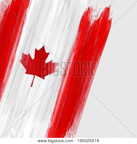 Grunge Canadian flag background with watercolor brushed lines. Template for holidays, Canada day, invitation, poster, flyer, banner, etc.