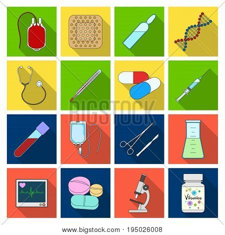 Donor, plaster, vaccine and other medical, medicine equipment. Medical, medicine set collection icons in flat style vector symbol stock illustration.