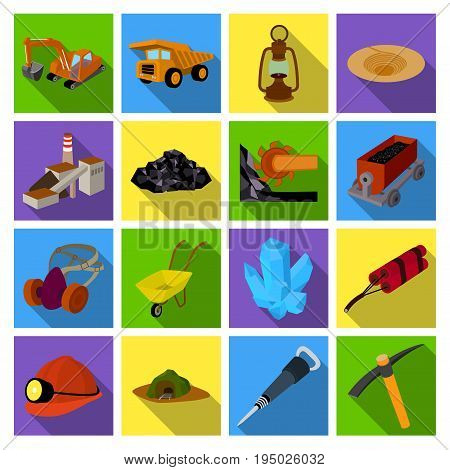 Excavator, jackhammer, helmet and other items for the mine. Mine set collection icons in flat style vector symbol stock illustration .