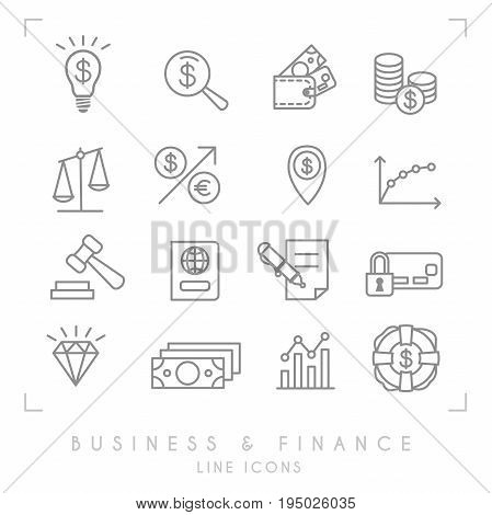 Set of line thin business and financial icons. Business idea bulb magnifier wallet coins libra arrow point graph gaver pass contract card lock diamond dollars lifebuoy.
