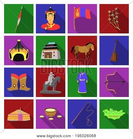 Genghis Khan, a monastery, Yurt and other sights of Mongolia. Mongolia set collection icons in flat style vector symbol stock illustration .