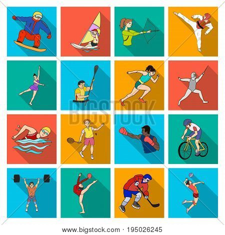 Hockey, tennis, boxing sports included in the Olympic Games. Olympic sport set collection icons in flat style vector symbol stock illustration .