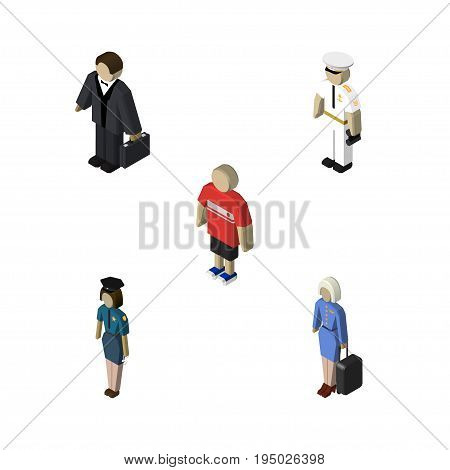 Isometric People Set Of Policewoman, Hostess, Investor And Other Vector Objects. Also Includes Businessman, Sailor, Policewoman Elements.