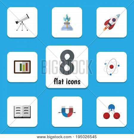 Flat Icon Science Set Of Diagram, Flame, Lecture And Other Vector Objects. Also Includes Telescope, Burner, Scope Elements.