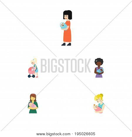 Flat Icon Mother Set Of Baby, Woman, Mam And Other Vector Objects. Also Includes Mam, Baby, Perambulator Elements.