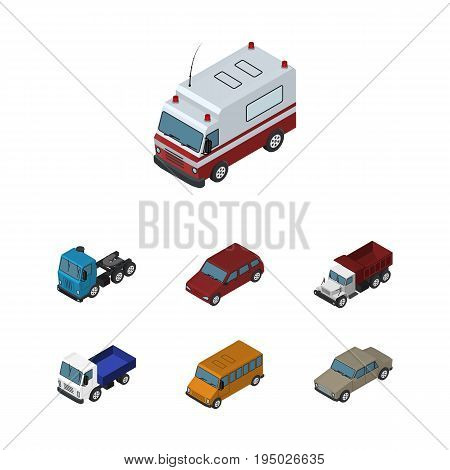 Isometric Car Set Of Auto, Autobus, Lorry And Other Vector Objects. Also Includes Auto, Lorry, Car Elements.