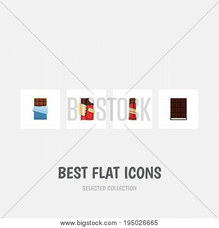 Flat Icon Bitter Set Of Dessert, Bitter, Sweet And Other Vector Objects. Also Includes Bitter, Chocolate, Wrapper Elements.