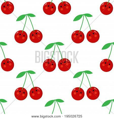 Cherry cartoon seamless childlike vector pattern design, background
