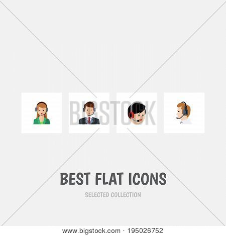 Flat Icon Call Set Of Operator, Telemarketing, Secretary And Other Vector Objects. Also Includes Hotline, Secretary, Operator Elements.