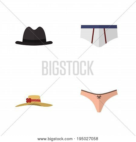 Flat Icon Clothes Set Of Panama, Elegant Headgear, Lingerie And Other Vector Objects. Also Includes Underclothes, Fedora, Lingerie Elements.