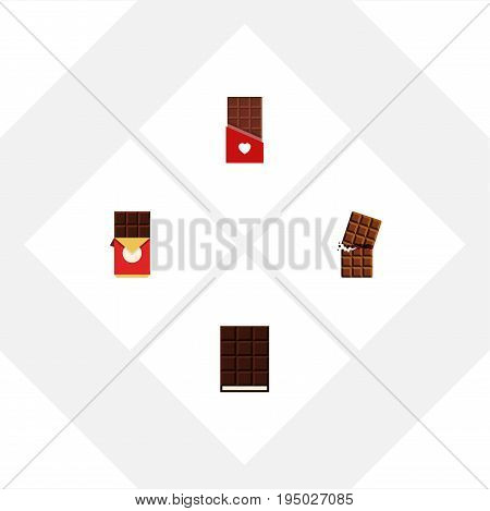 Flat Icon Chocolate Set Of Wrapper, Chocolate, Chocolate Bar And Other Vector Objects. Also Includes Box, Bitter, Chocolate Elements.