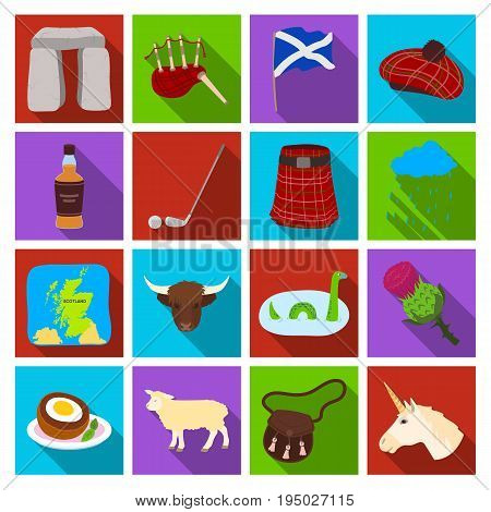 Scotland country set icons in flat design. Big collection of Scotland country vector symbol stock illustration