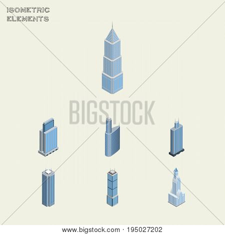 Isometric Skyscraper Set Of Exterior, Cityscape, Skyscraper And Other Vector Objects. Also Includes Skyscraper, Apartment, Cityscape Elements.