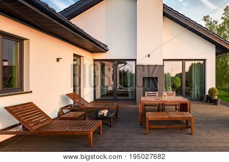 Patio With Wooden Furniture