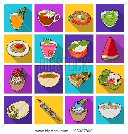 Juice, pizza, berries are vegetarian dishes.Vegetarian Dishes set collection icons in flat style vector symbol stock illustration .