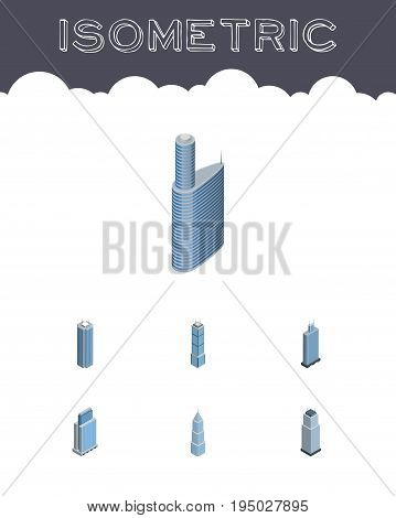 Isometric Skyscraper Set Of Exterior, Building, Skyscraper And Other Vector Objects. Also Includes Cityscape, Building, Tower Elements.