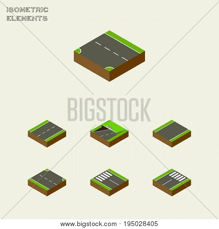 Isometric Road Set Of Rightward, Unilateral, Downward And Other Vector Objects. Also Includes Single, Footer, Pedestrian Elements.