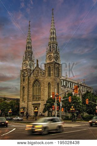 Spectacular skies above the Notre-Dame Cathedral Basilica in the heart of Canadian capital Ottawa city.