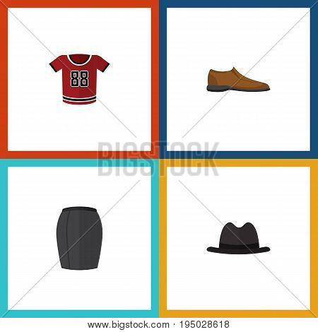 Flat Icon Garment Set Of Panama, T-Shirt, Stylish Apparel And Other Vector Objects. Also Includes Shirt, Man, Footware Elements.