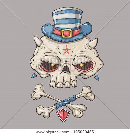 cartoon skull. Vector illustration for web and print.