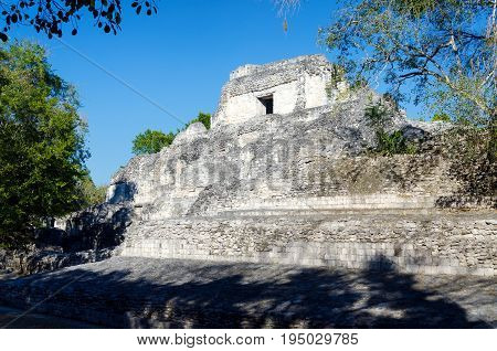 View of pyramid in Becan Mayan Ruins close to Campeche city in Mexico