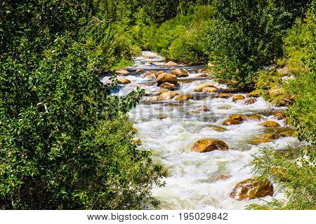 Rushing Waters In Stream From Mountain Snow Melting