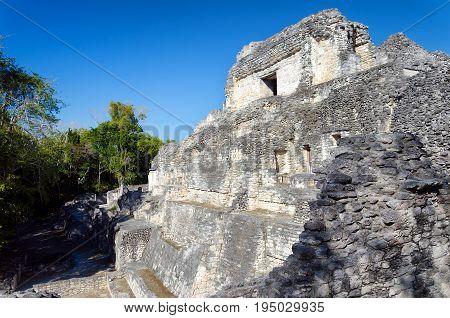 Beatiful temple in Becan Mayan ruins in the Yucatan peninsula Mexico