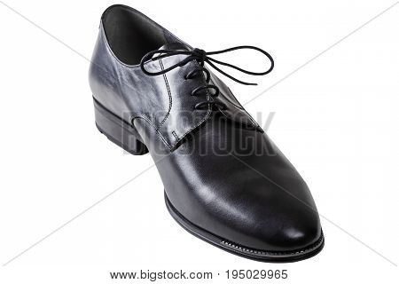 Black man leather shoe with shoelaces isolated on white background with clipping path