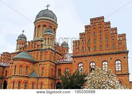 Church of residence of Bukovinian and Dalmatian Metropolitans now part of Chernivtsi University. Yuriy Fedkovych Chernivtsi National University. Chernovtsiб Europe