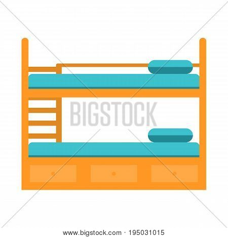 Bunk bed with stairs, wooden bunk decker bed, bed for children in flat style, vector illustration isolated on white background. Easy to recolor and scale Eps10
