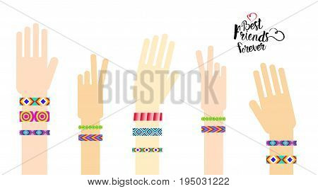 Happy Friends Day Hands With Friendship Bracelets Greeting Card Holiday Banner Flat Vector Illustration
