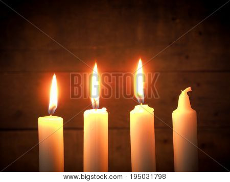 Advent candles on a rustic wooden background Christmas concept