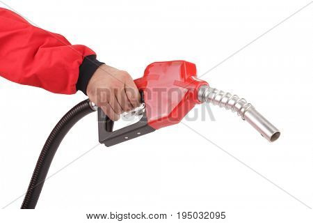 Hand is holding gasoline pistol pump fuel nozzle