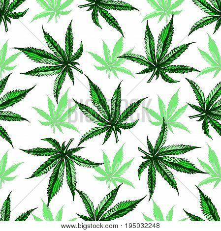 Marijuana leaf pattern. Simple illustration of marijuana leaf vector pattern.