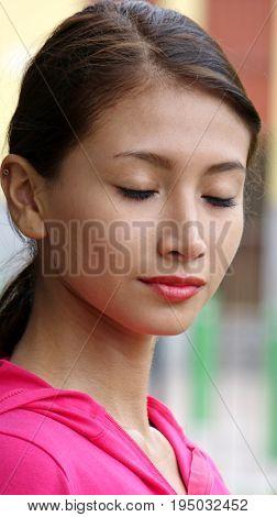 Lonely Youthful Female Wearing a Pink Sweatshirt