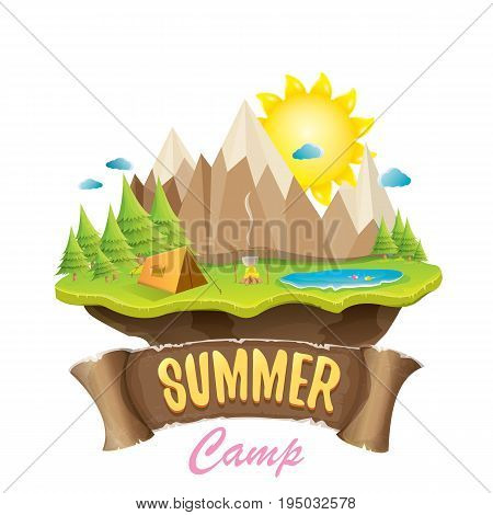 Vector summer campinng concept illustration with green valley, mountains, trees, sun, clouds, camp fire, camping tent and blue lake. Summer camp logo or flyer illustration.