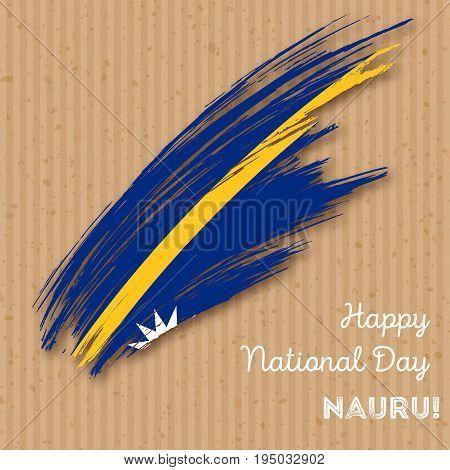 Nauru Independence Day Patriotic Design. Expressive Brush Stroke In National Flag Colors On Kraft Pa