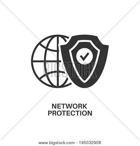 Network protection. Internet security information protection outline linear icon