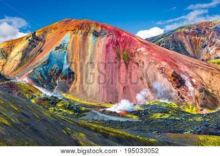 Beautiful colorful volcanic mountains Landmannalaugar in Iceland summer time poster