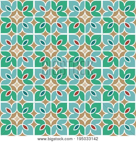 Colorful floral mosaic background in Moroccan style. Vector seamless repeating pattern.