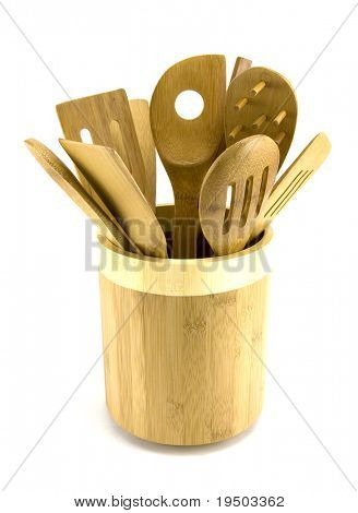 Bowl of Wooden Utensils Isolated on White