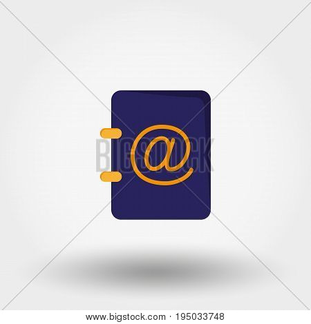 Address book. Icon for web and mobile application. Vector illustration isolated on a white background. Flat design style.